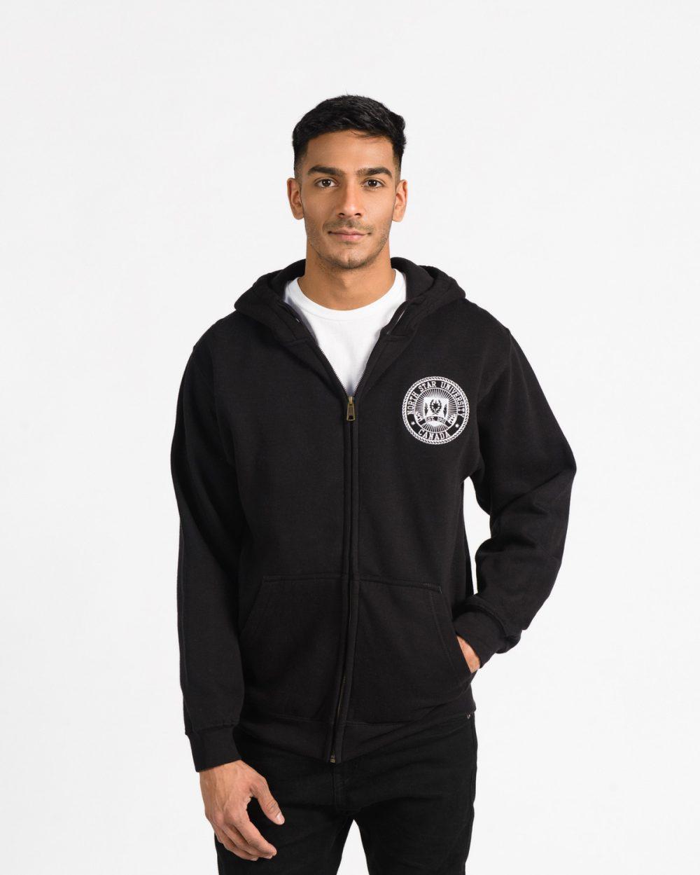 Premium Full Zip 103 in black on male model.