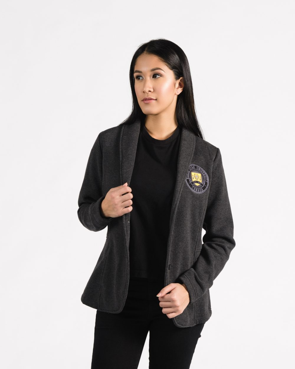 Women's Fitted Blazer 113 in charcoal.