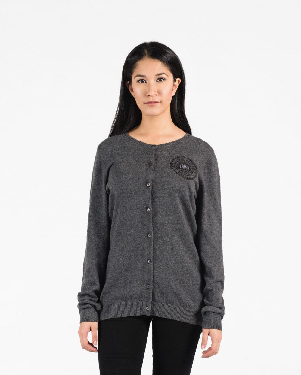 Women's Premium Cardigan 117 in grey.