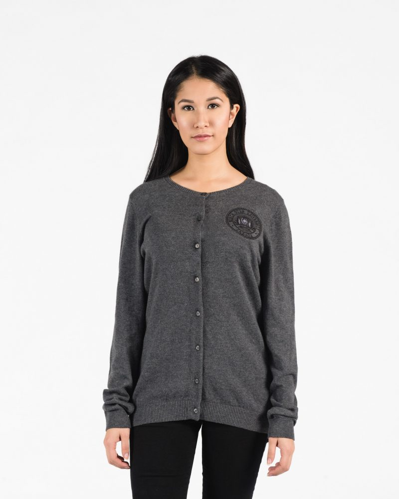 Women's Premium Cardigan 117 in grey.