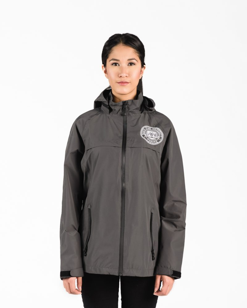 Signature Water Proof Jacket 118w in slate on woman.