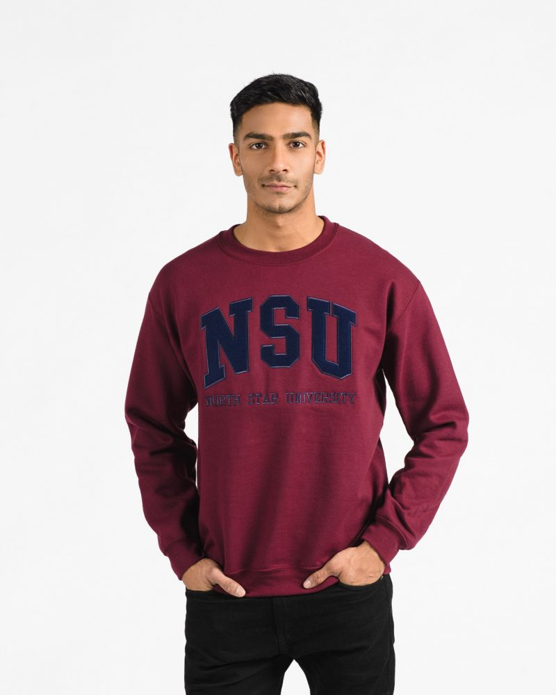 Signature Crew 202 in burgundy with navy embroidery on male model.