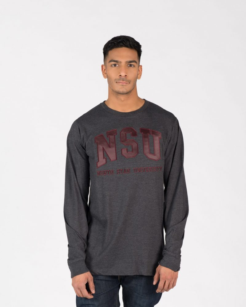 Unisex fit Signature Longsleeve 204 in charcoal with burgundy embroidery on male model.