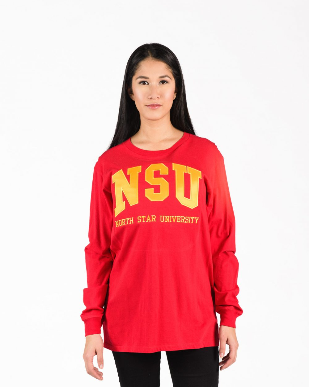Unisex fit Signature Longsleeve 204 in red with yellow embroidery on woman.