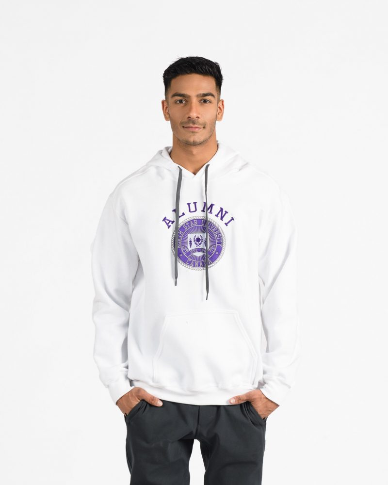 Premium Hood 301 in white with purple emboidery on male model.