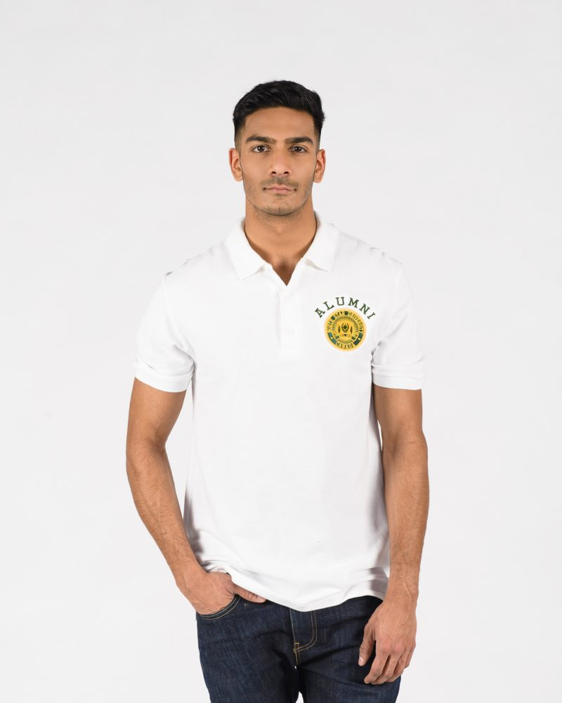 Signature Golf Shirt 306 in white on male model.