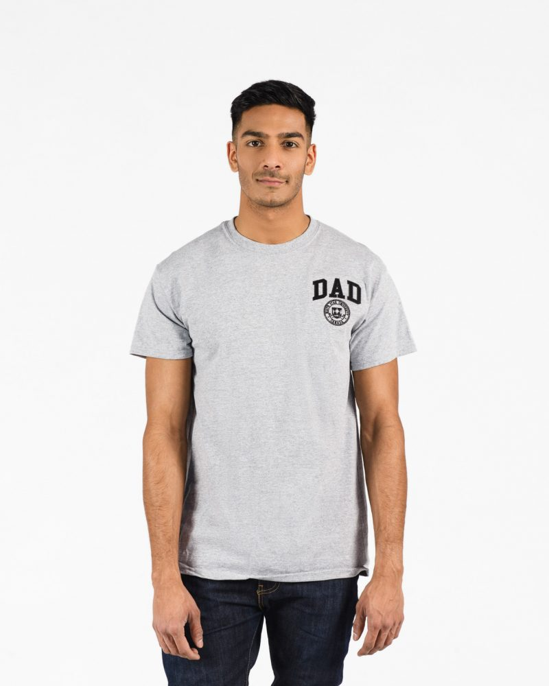Unisex fitted Signature T-Shirt 411 in grey with black emboridery on male model.