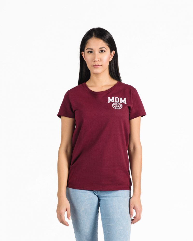 Women's Fit Signature T-Shirt in burgundy with white embroidery on woman model.