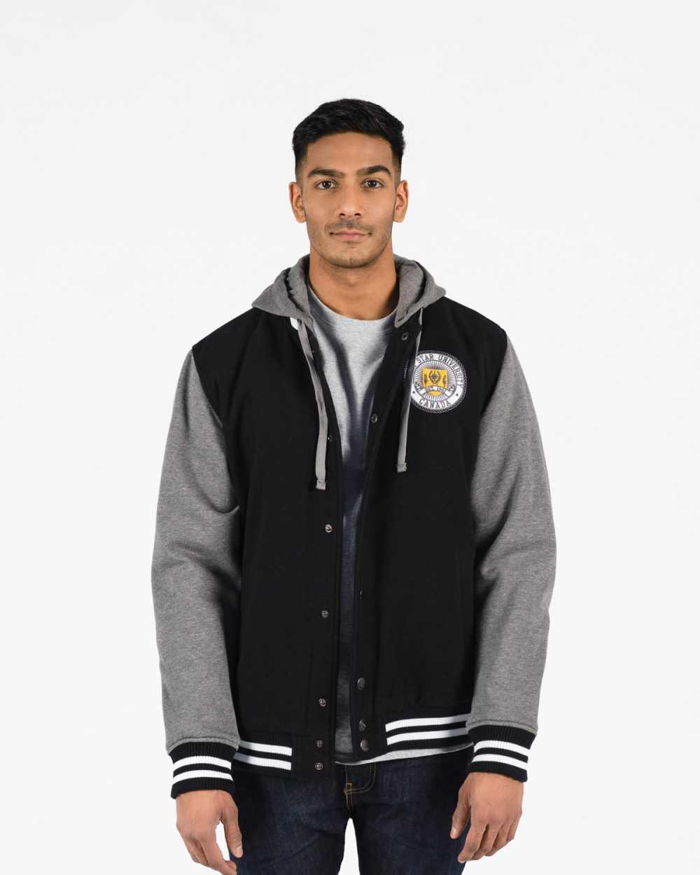 Insulated Letterman Jacket 518 Black with Charcoal sleeves on male model front view.