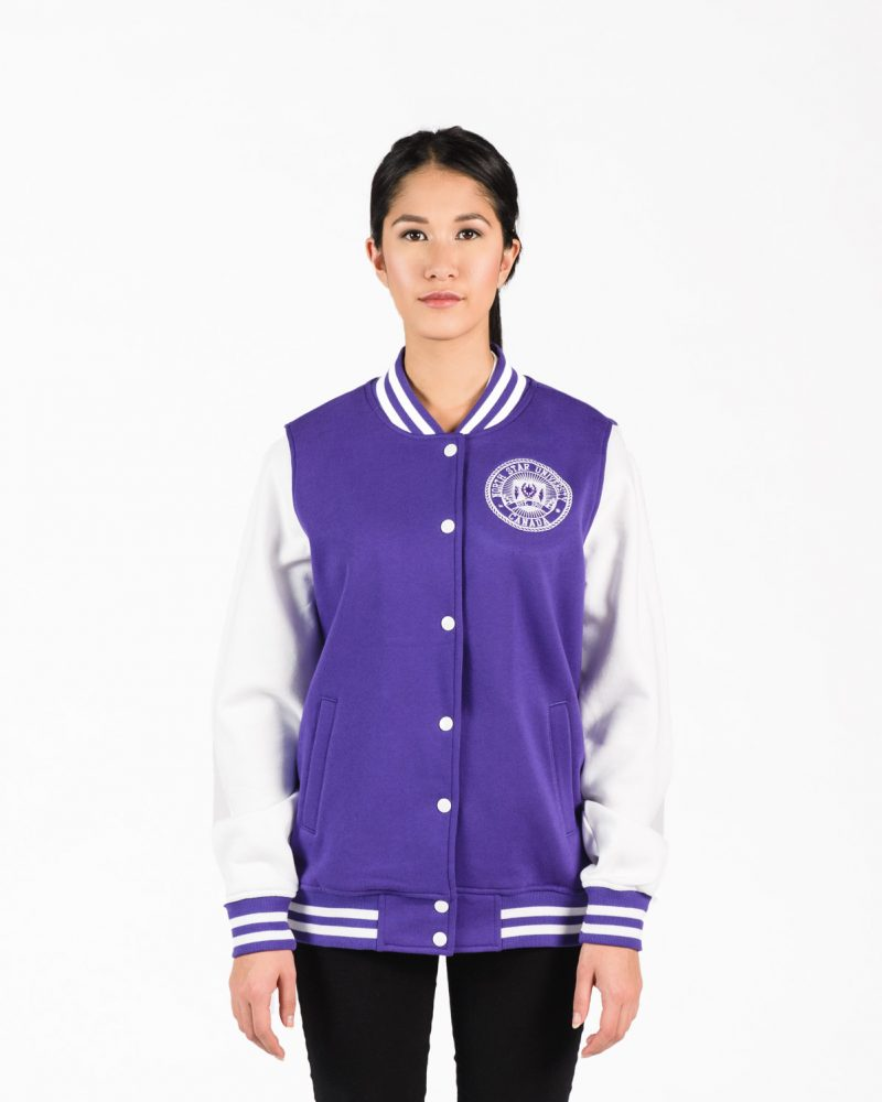 Women's Fleece Letterman Jacket in Purple with White Sleeves