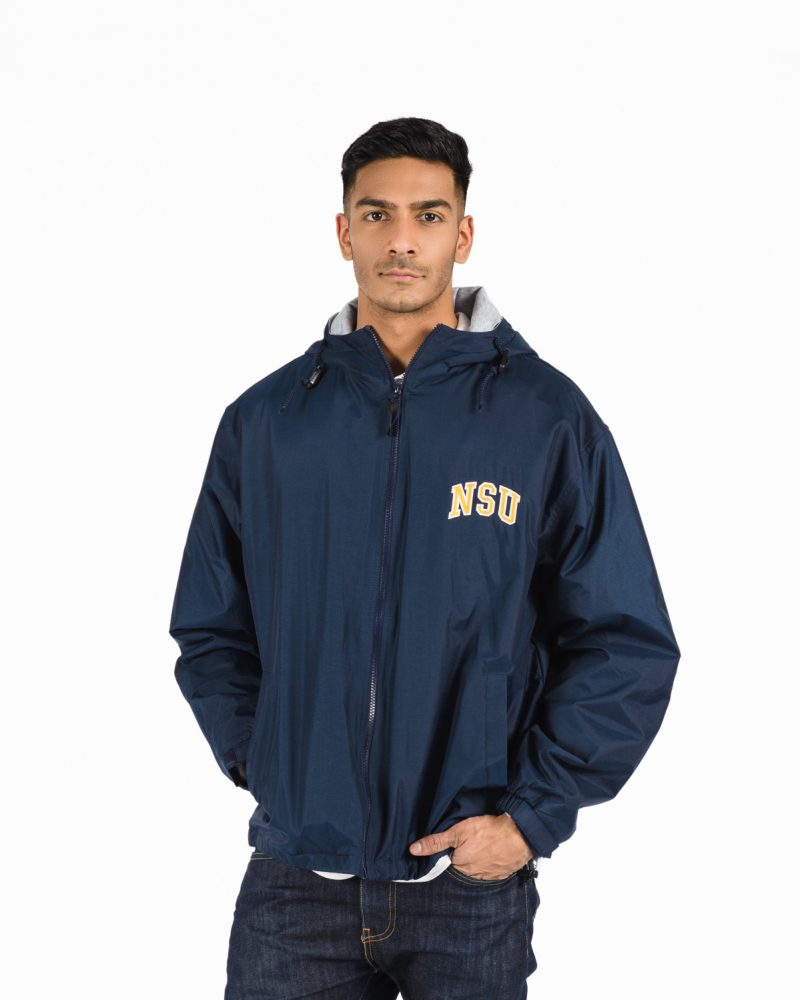 Team Jacket 520 in Navy on Male Model.