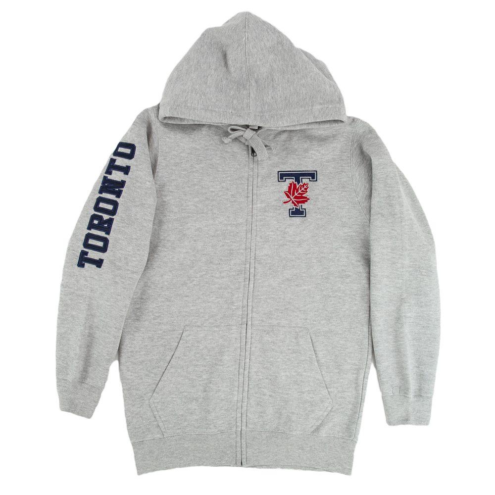 Athletic Grey Unisex Embroidered T-Leaf Full Zip Hoodie