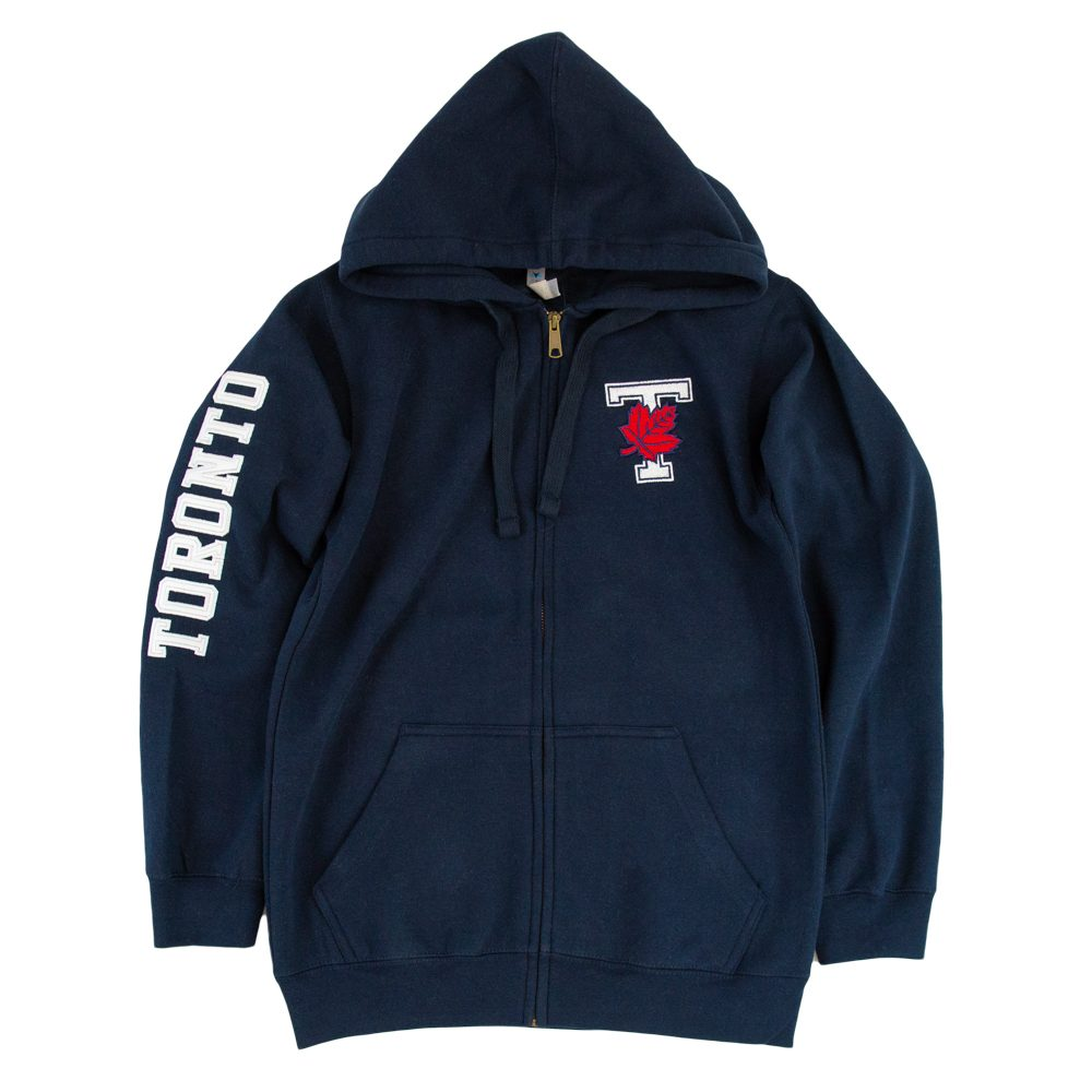 Navy Unisex Embroidered T-Leaf Full Zip Hoodie